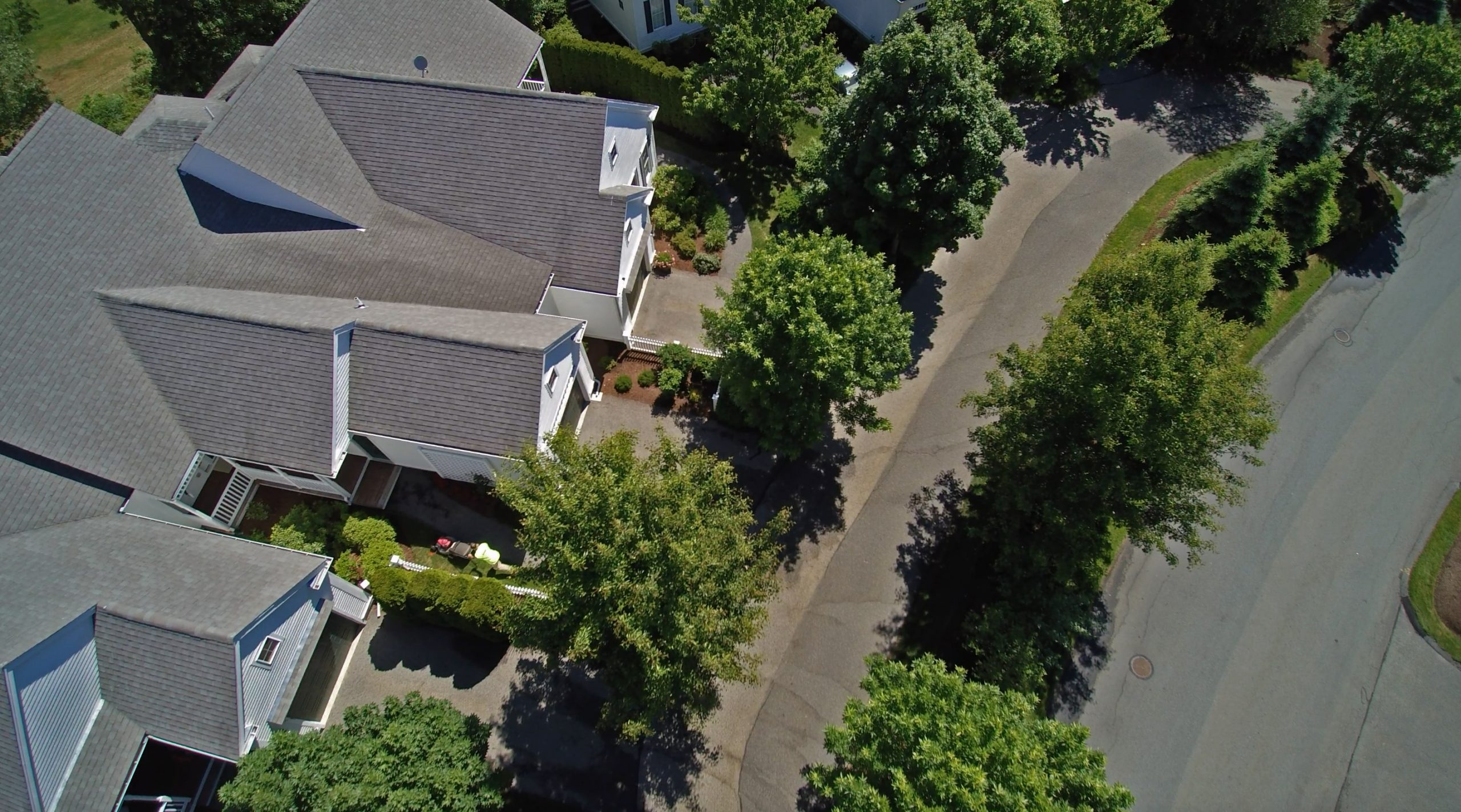 Overhead shot of Bourne condos taken with a drone.