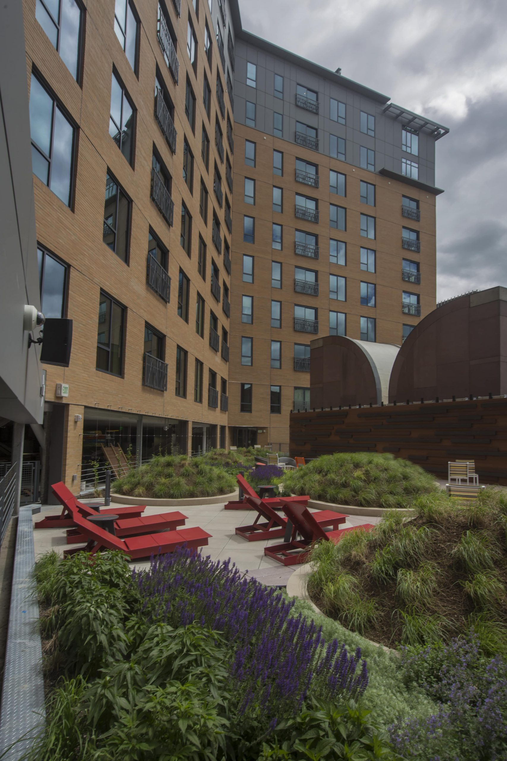 A garden and relaxation area created by Greenscape on Canal Street.
