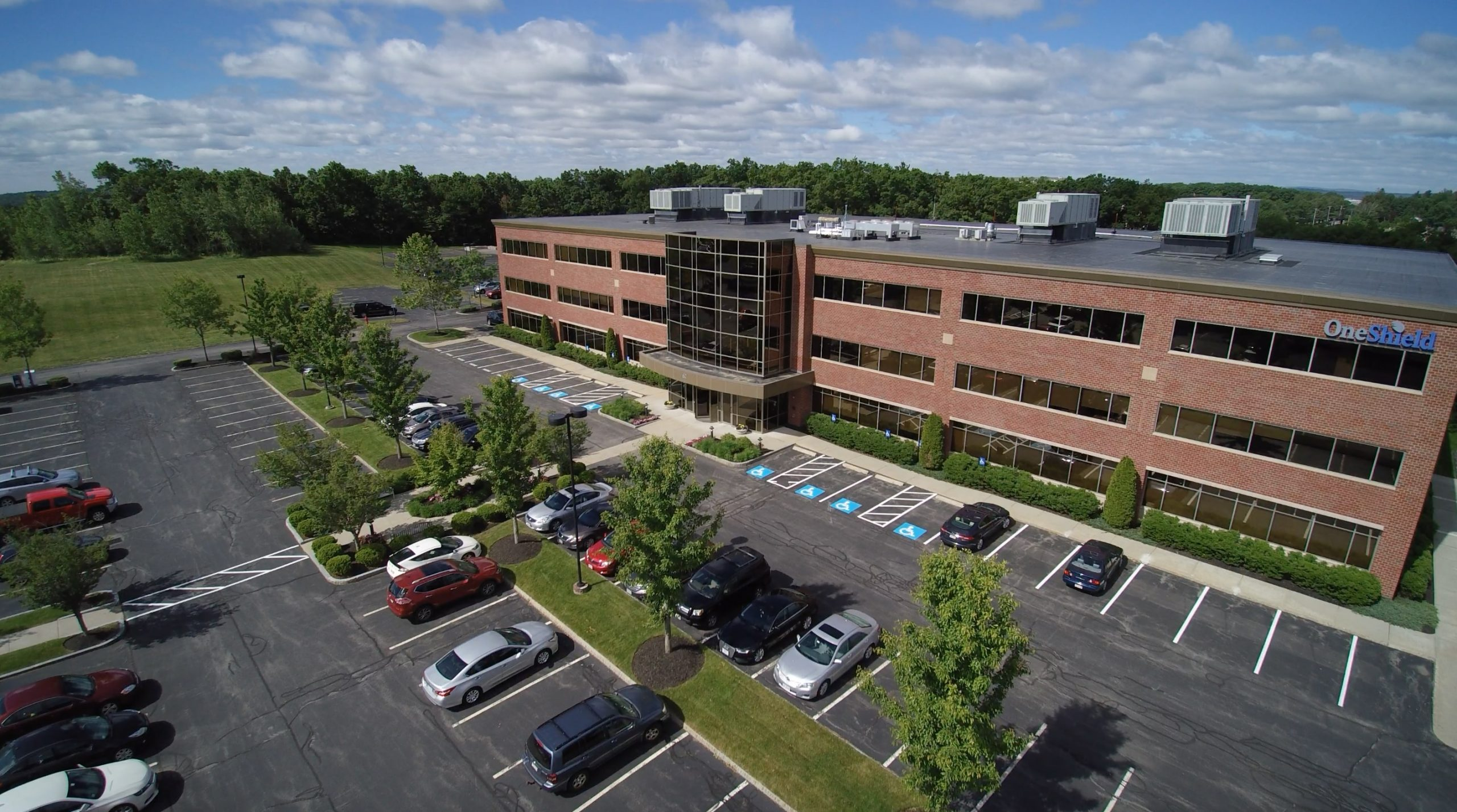 Drone shot of landscaping done at OneShield.