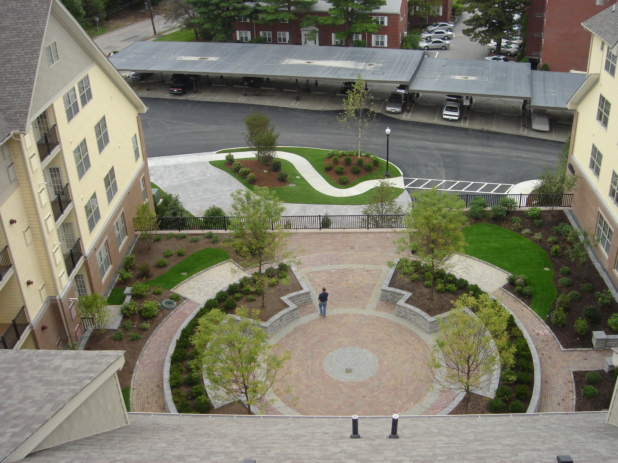 Aerial view of plaza with trees maintained by Greenscape.