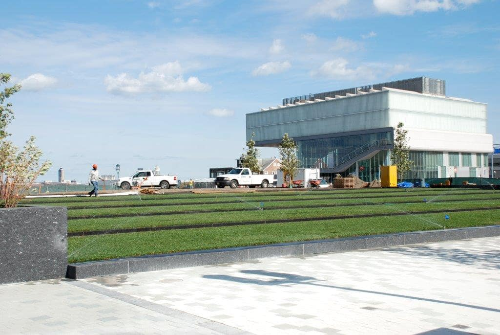greenscape utilizes sprinkler systems to make sure their grass stays healthy during jobs.