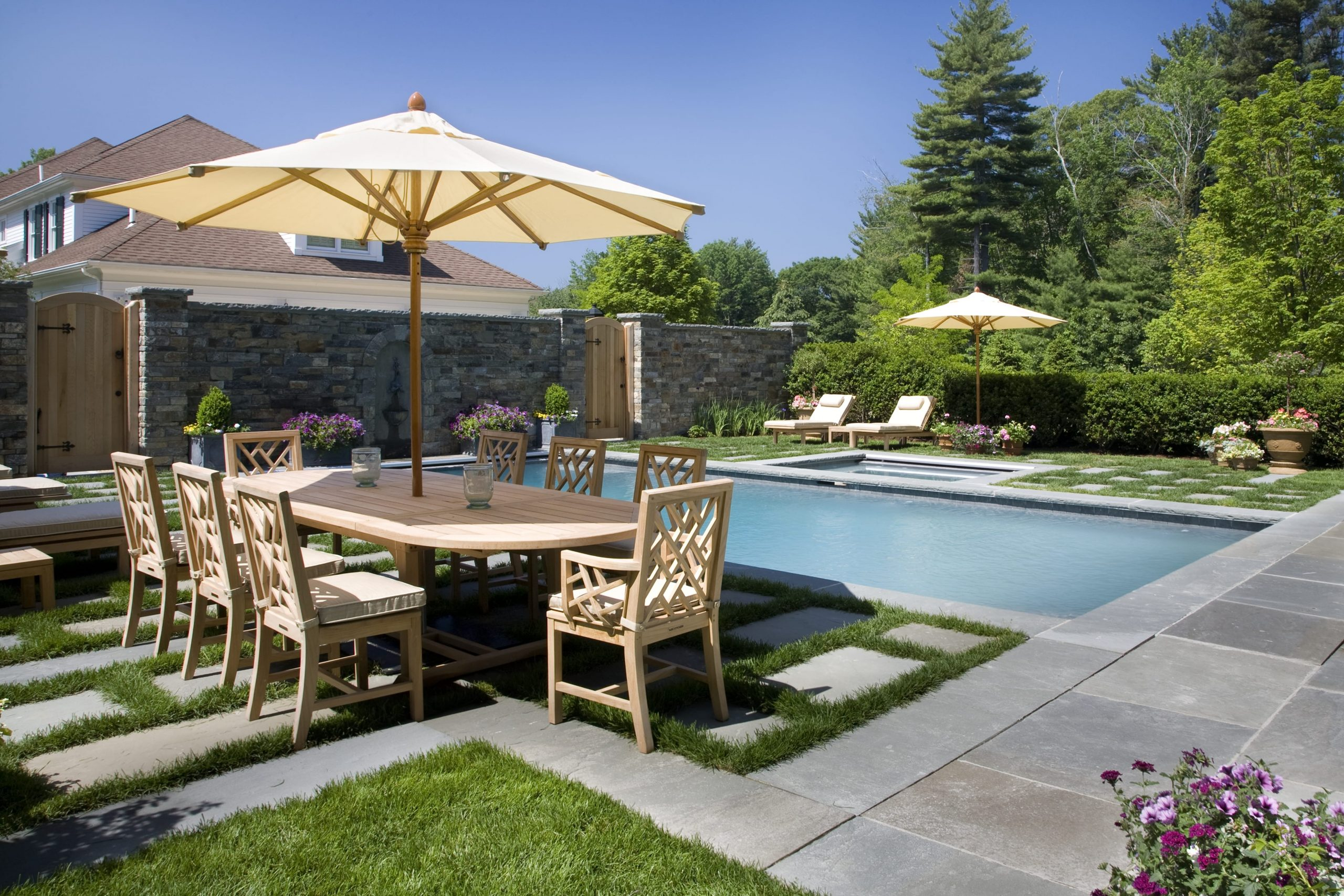 Poolside residential landscaping project done by Greenscape.