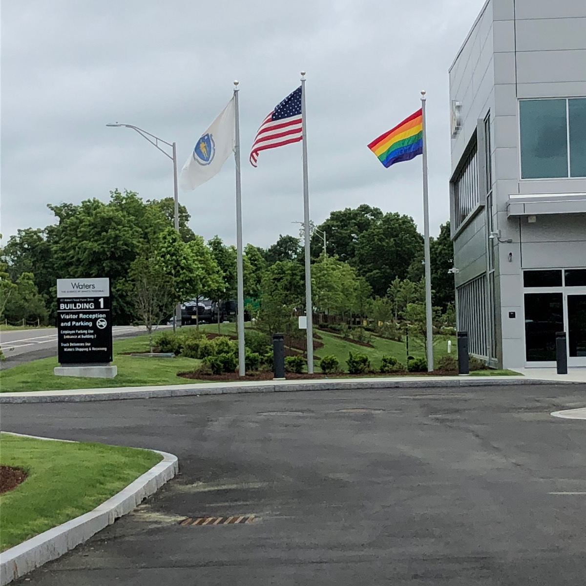 Landscape and Flags at Waters Building 1