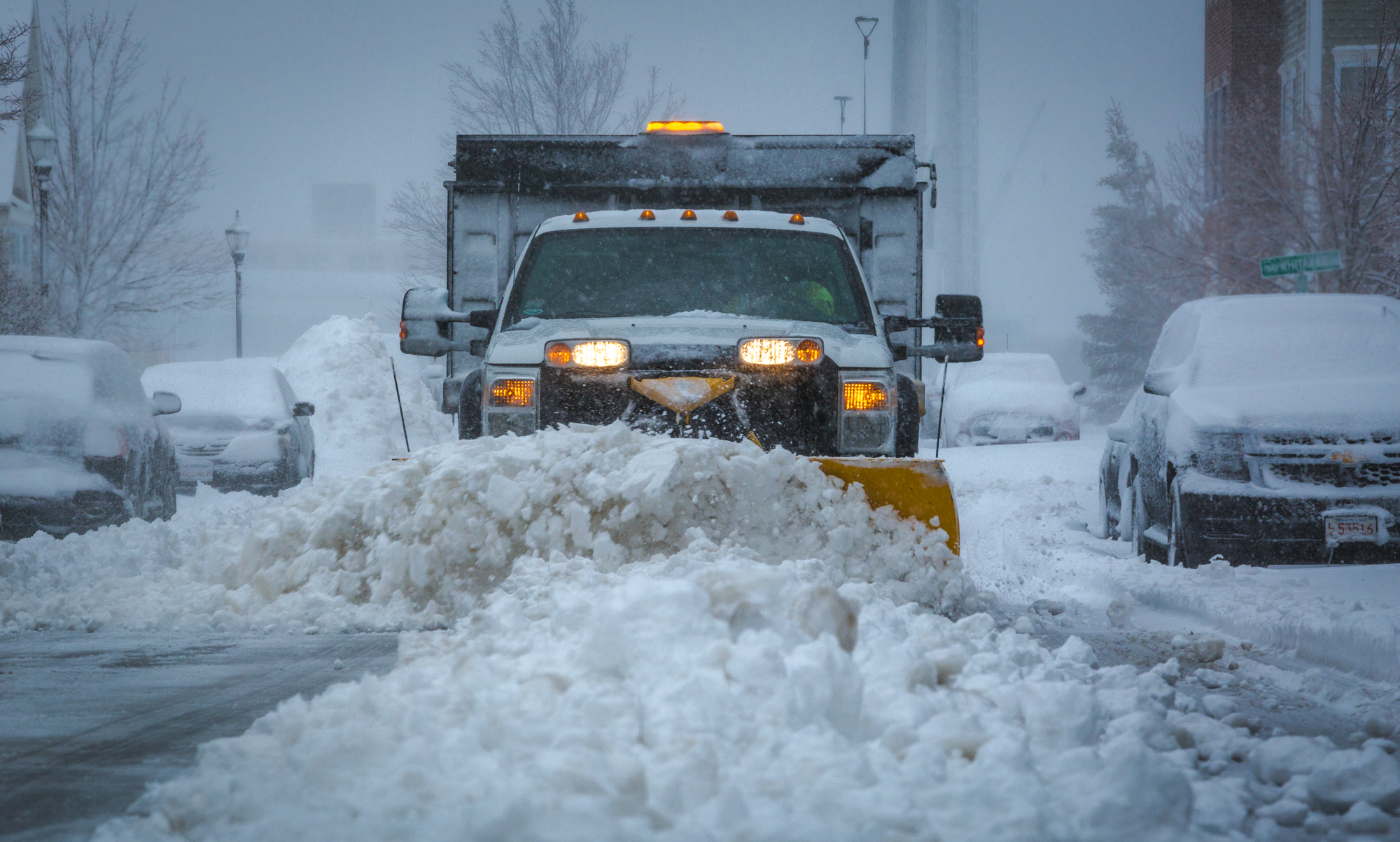 Front View of a Truck Plowing Snow