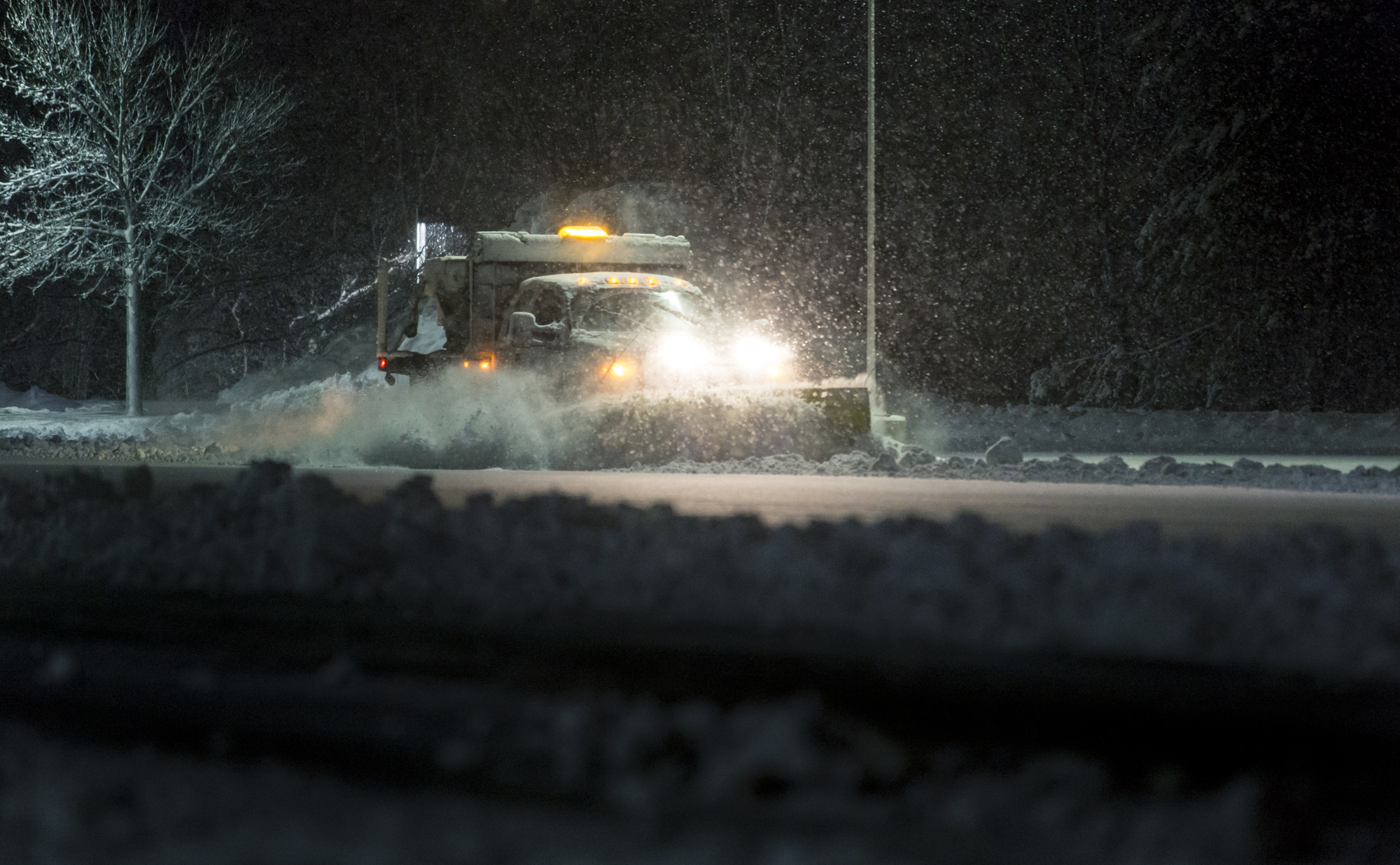 Plowing Snow at Night in a Winter Storm