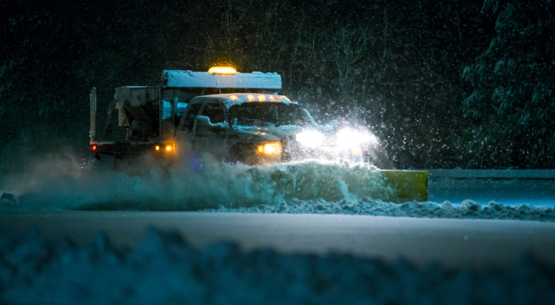 Snow Plow During a Winter Storm