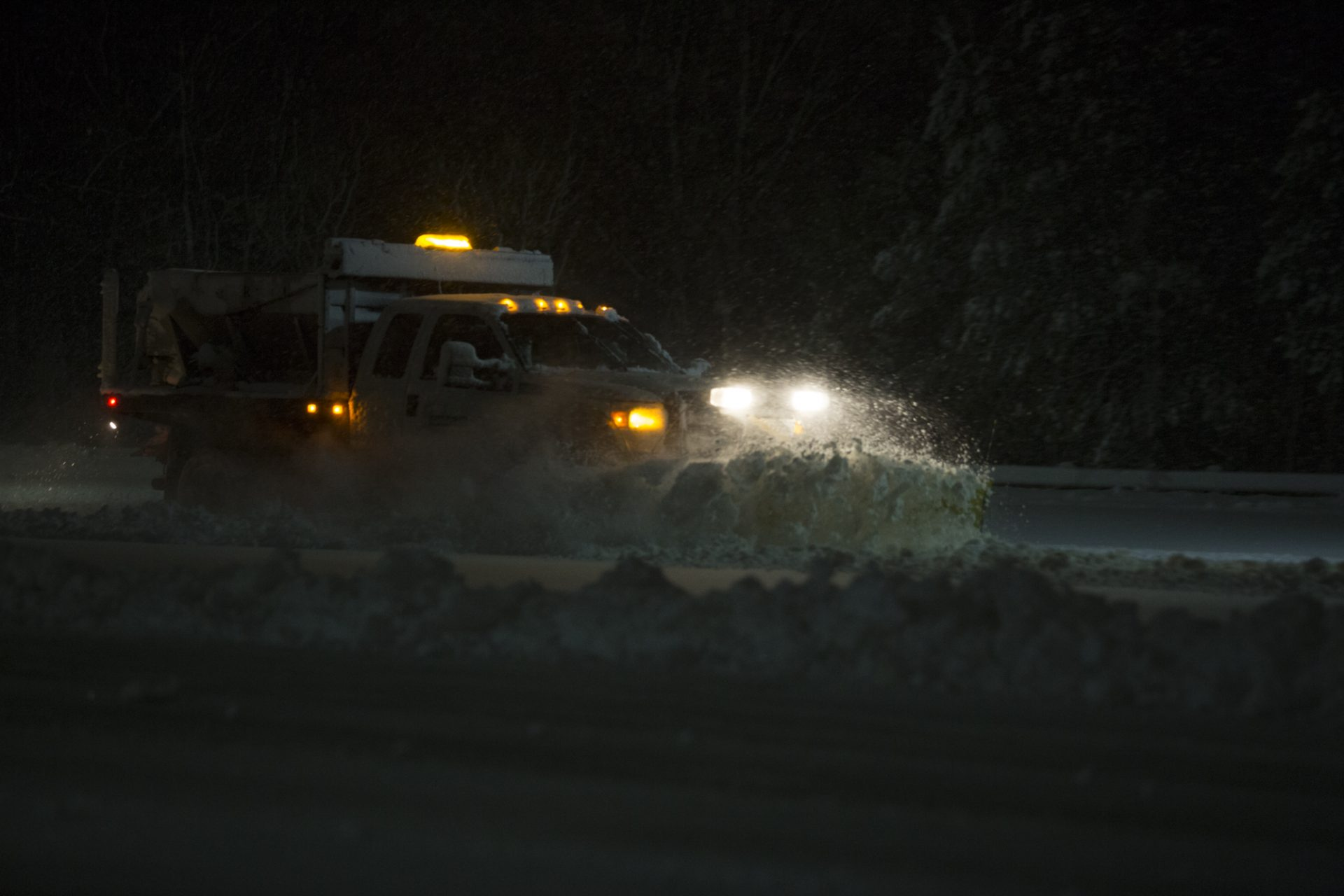 Snow Plow At Night Time
