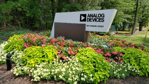 Analog Devices Sign and Flower Display