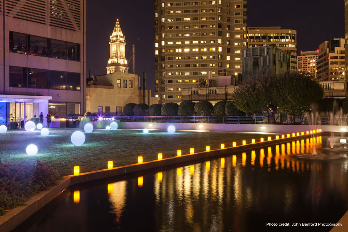 Nighttime View of Urban Landscaping and Water Features