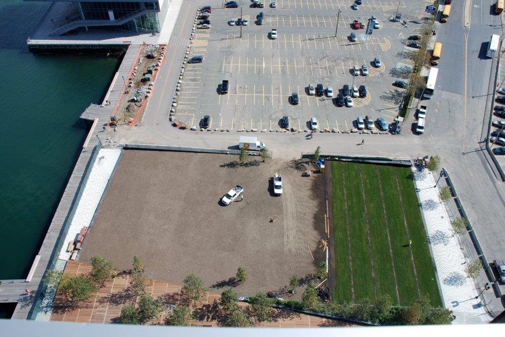 Aerial View of Fan Pier Grass Installation